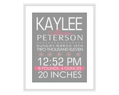 Birth Information Wall Art, Personalized Birth Wall Art, Typography, Nursery Art Print Poster 8 X 10 Wall Decor