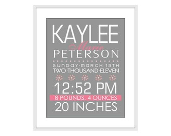 Personalized Custom Baby Birth Info Sign Wall Art Typography Nursery Art Print Poster 8 X 10 Wall Decor