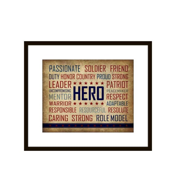 Patriotic Military Hero, Fourth of July  Art Print 8 X 10