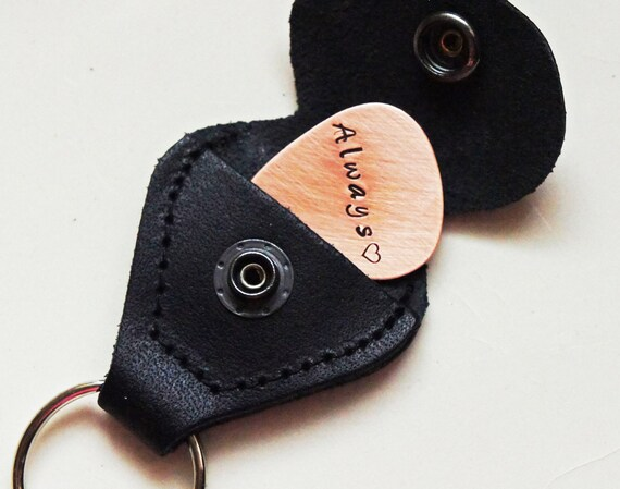 Personalized Guitar Pick Holder Keychain - Custom Copper Guitar Pick Leather Pick Storage Keychain - Muisc Lovers Gift Musician Fathers Day