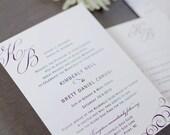 Mongram Scroll Wedding Invitation, classic traditional wedding invitation, engagement, custom colors