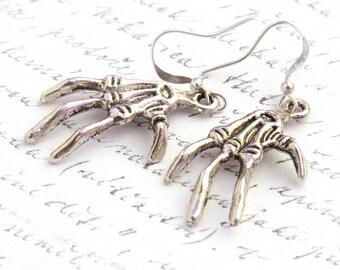 Halloween Creepy Earrings, Scary Claw Earrings, Silver Skeleton Hand, Bones Monster, dia de los muertos Sterling Dangle Earrings