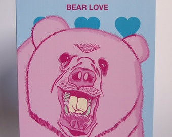 Bear Love Blank Everyday Greeting Card in Blue or Green
