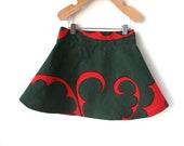 2T Girls Christmas Skirt -Red and Green Marimekko Cotton