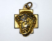 Golden Metal Christ Head With Crown Of Thorns Pendant Vintage 1970's