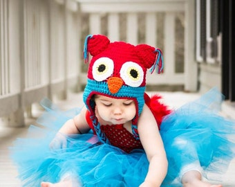 Real Feathers COMPLETE OUTFIT Handmade Red Bright Electric Blue Owl Tutu Crochet Hat Costume Set Baby Girls Photo Prop