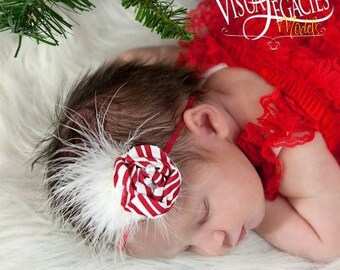 Peppermint Twist Baby Headband-Newborn Headband-Christmas Headband-Photo Prop-Gift