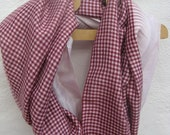 Sari Silk  infinity scarf  Perfect Gift, FREE SHIPPING  maroon gingham and pale pink