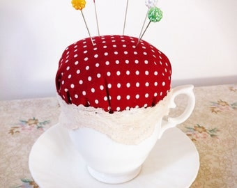 Teacup pincushion, red polka dot, floral pins, sewing accessories