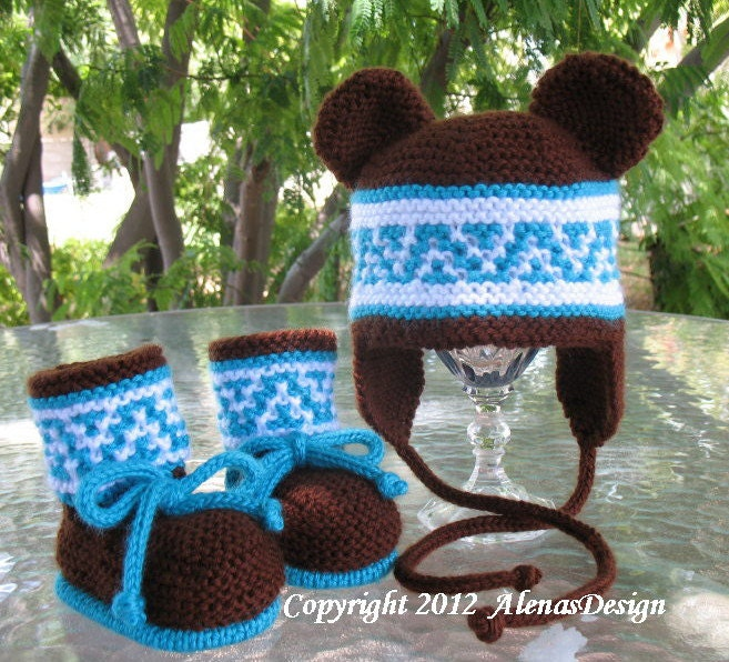 Knitting Pattern Beanie With Ear Flaps : Knitting PATTERN Set Beanie Ear Flap Hat with Bear Ears