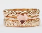 Love - Mixed Metal Gold Fill and a Copper Heart  - Stacking Ring Set of 3 - Heart Ring - Mixed Metal - Made in Your Size