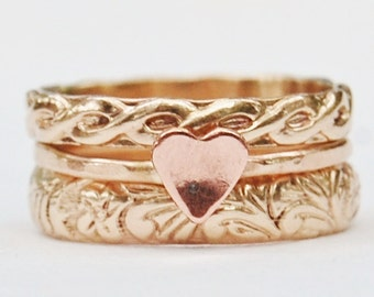 Gold Stacking Rings - Patterned Stackers - Floral Band - Gold Fill - Helix Infinity Band - Anniversary Gift - Promise Ring - Copper Heart
