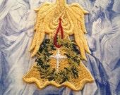Christmas Lace Angel, Angel with Wreath, Monogram Angel, Angel with Metalic Star
