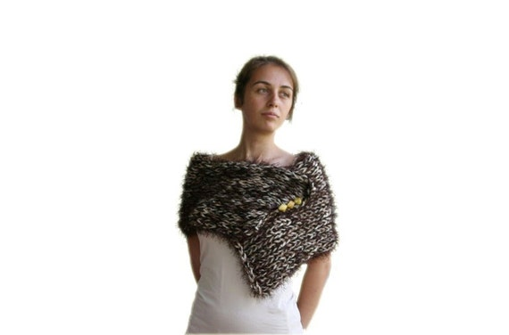Alpaca Faux Fur Capelet Scarf  in Brown with Shawl Stone Pin - Fall Winter Fashion - Women Teens Accessories - Wrap - Cowl - Shawl - Cape