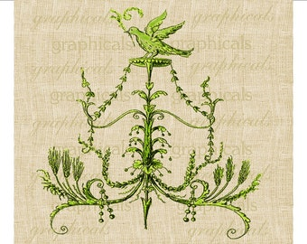 Verdant green flourish arabesque Bird Instant Digital download image for Iron on fabric transfer burlap decoupage pillows cards No.  1717