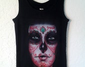 Sugar Skull Black Tank Top - Handmade, airbrushed, only one made, rockabilly, day of the dead,