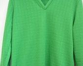 Vintage Arnold Palmer Sweater. Doubleknit, Robert Bruce. Golf Attire, Vintage Green, Retro,V Neck Sweater.
