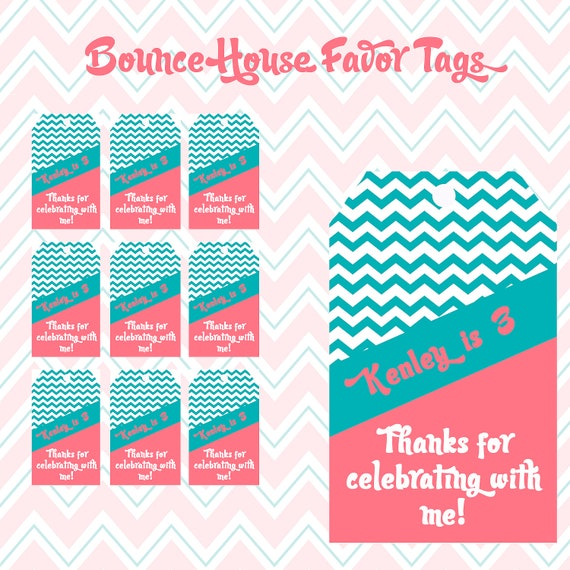 BOUNCE HOUSE PARTY- Favor Tag- Pink and Teal- Libby Lane Press