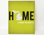 Michigan State Art - Home Is Where The Heart Is Map Print - Michigan Map - Personalized Map Print - State Map - Dorm Decor -  Lemon Yellow