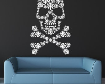 Skull and Cross Bones Snow Flakes, Crossbones, Snowflake Art, Skeleton Snowflakes, Frozen, Gothic Goth Vinyl Sticker, Wall Decal, Home Decor