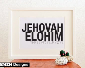 Jehovah Elohim. 8x10. PDF. Printable Christian Poster. Bible Verse.