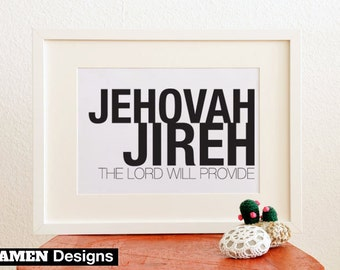 Jehovah Jireh. 8x10in. PDF. Printable Christian Typographical Design..
