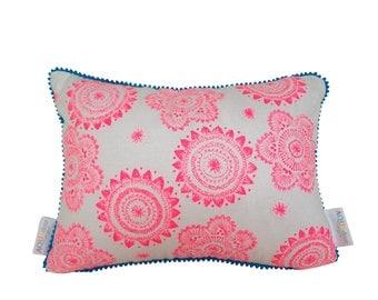 Cushion cover Messy Posey design. Fluro pink design on white Linen/Cotton with aqua blue mini pompom trim 40cmx30cm