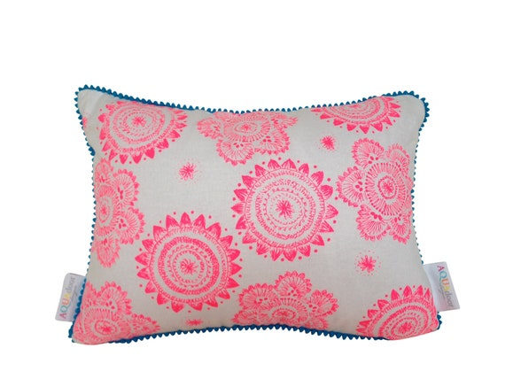 Cushion cover Messy Posey design. Fluro pink design on white Linen/Cotton with aqua blue mini pompom trim 40cmx30cm