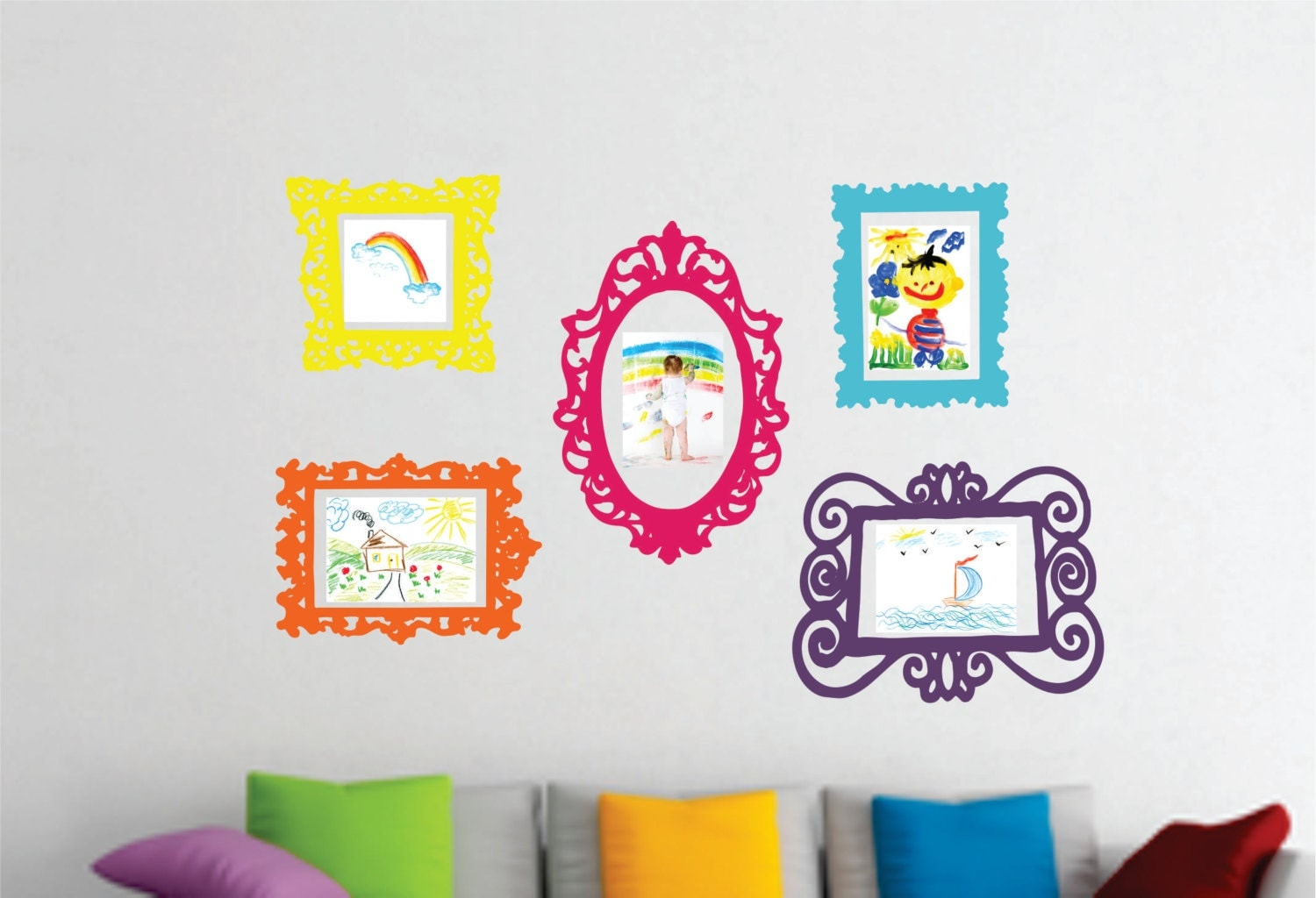 zoom. Wall Decal Set of 5 Frames Playroom Decor Bedroom Wall
