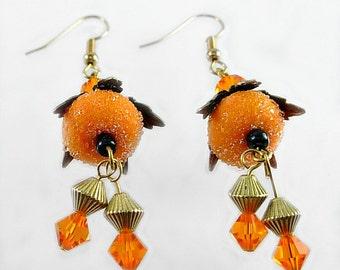 Tangerine Artisan Lampwork & Swarovski Floral Earrings, Orange n Black, Halloween, OSU Colors