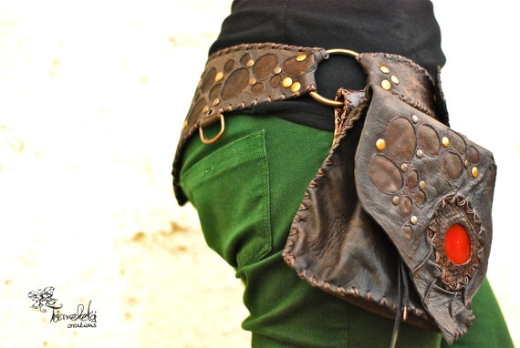 MÖONLËAP  fairy elf punk leather tribal textured belt with detachable pouch