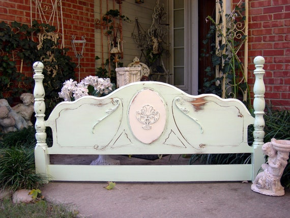 Antique HEADBOARD Queen or Full Shabby Chic Distressed Furniture Seafoam Green French White