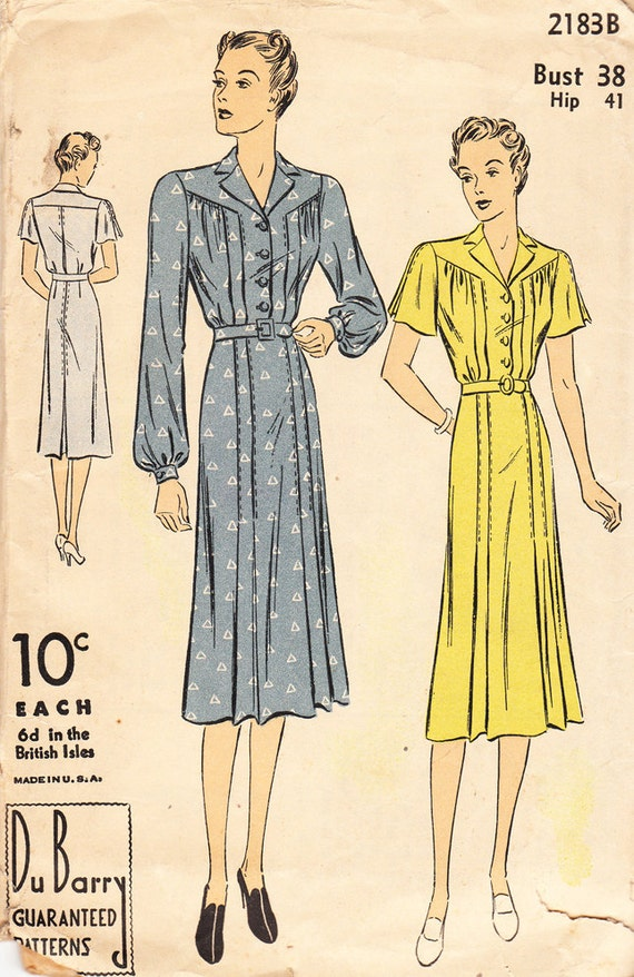 Vintage 1930s DuBarry Sewing Pattern No. 2183B For Misses' And Women's Belted Shirtmaker Dress with Pleats - Bust 38