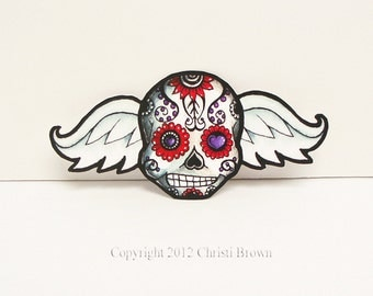 Sugar Skull Angel Wings Car Sticker Window  Decal Waterproof Vinyl Day of the Dead