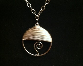 "Silver Wire Wrapped Pendant on 24"" Chain"