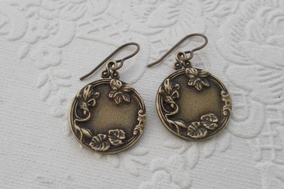 Fall Leaf Floral Bohemian Earrings Gypsy Simple Earrings Round Drop Earrings