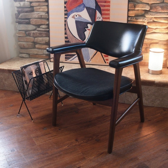 Wood Arm Chairs For Office ~ S mid century modern walnut wood chair by acesfindsvintage