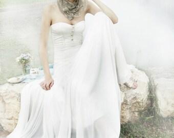 Mantilla Lace Veil, Taupe Bridal Shawl, Convertible Wrap- Shrug, Shawl, Crisscross Or Scarf. Bohemian Wedding Accessories, Wedding Lace Veil