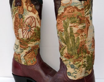 Vintage Dan Post Cowboy Boots Tapestry Horse Equestrian Scene Boots Beautiful Vintage Pair 7.5