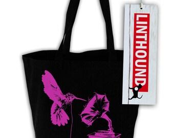 DJ Hummingbird Black Canvas Grocery Tote Bag