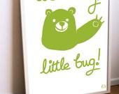 Lets hug Green Bear Childrens poster, 50x70 cm.
