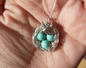 3 Eggs Bird's Nest Necklace, Bird Charm & Chain - Argentium Sterling Silver Pendant