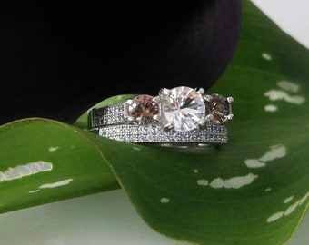 Herkimer Diamond Engagement Ring with Matching Wedding Band Micro Pave Sterling Silver