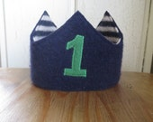Reversible Waldorf 1st Birthday Crown Recycled Wool Sweater Star Applique Adjustable