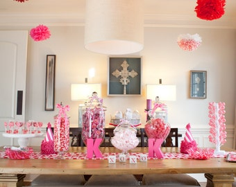 4 Pom Poms - Red and Pink Pom-Poms - More Colors Available - Tissue Paper Poms - Valentines Day