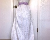 1960s White Brocade Prom Gown Size XL