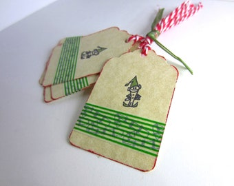 Elf Christmas Tags - Holiday Gift Tags with Green Washi Tape