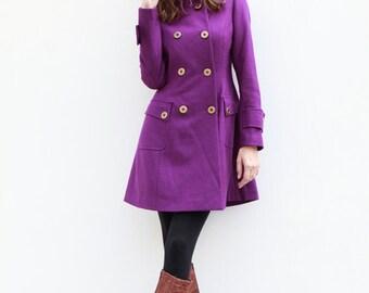 Purple Jacket Hooded Coat Double breasted Hoodie Wool Coat Winter Jacket - Custom Made - NC423