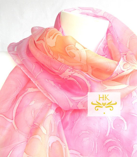 Pink and Orange Scarf.Pink Silk Scarf.Hand Painted Pink and Orange Scarf.Pink and Orange Silk Scarf.Wedding Scarf.Spring Wedding Scarf