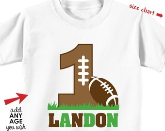 Football Birthday Shirt or Bodysuit - Personalized Birthday Shirt with Child's Age and Name